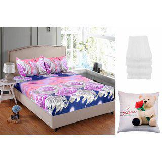 Valtellina India 1 Double Bedsheet 2pillow Cover 4 Face Towel 1 Cushion Cover