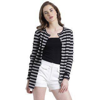 Texco Women Grey & Black Cotton jersey Round neck Fashion sleeve Striped Shrug