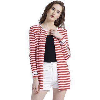 Texco Women Red & White Cotton jersey Round neck Fashion sleeve Striped Shrug