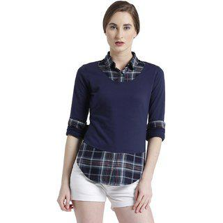 TEXCO Navy and Grey Spread Collar Roll up Sleeves Checks Women Shirt