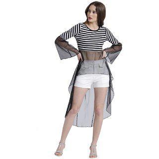 Texco Women Black & White Cotton jersey Scoop neck Gathered Striped Top