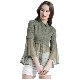 Texco Casual Bell Sleeve Lace Women Green Top