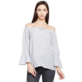 Oxolloxo Women's Off Shoulder Cotton Full Sleeves Stripe Top (grey_)