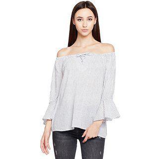 Oxolloxo Women's Striped Regular Fit Shirt (s18421wbl003_m_off-white_)
