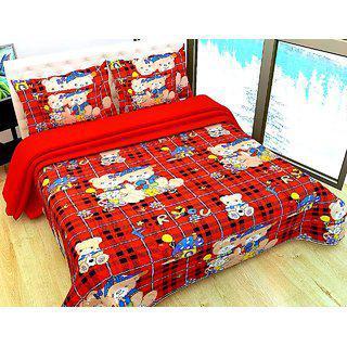 3d Double Bedsheet With 2 Pillow (teddy Tiddu)