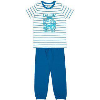 Ventra Boys College Nightwear Set Blue