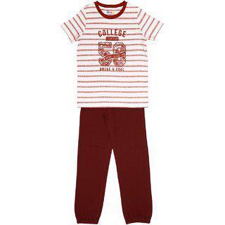 Ventra Boys College Nightwear Set Brown