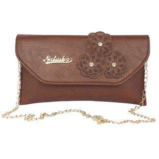 Aliado Faux Leather Embellished Brown Magnetic Snap Closure Crossbody Bag