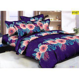 Choco Blue Flower Anu Supersoft Cotton Bedsheet With Pillow Cover Pack Of 1