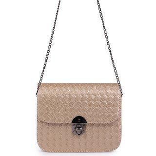 Elprine Golden Elegant Textured Design Sling Bag For Women