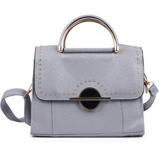 Elprine Rich Look Grey Leatherette Sling Bag For Women