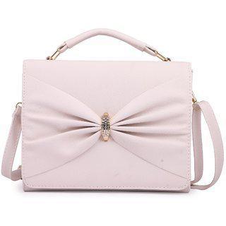Elprine Elegant Collection Designer Off White Sling Bag For Women