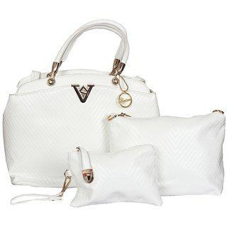 Elprine Elegant Collection White Handbag And Sling Bag With Pouch For Women 3 Pieces Combo
