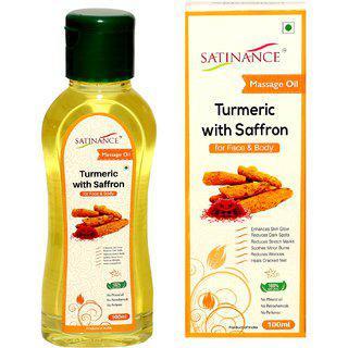 Satinance Turmeric With Saffron Massage Oil 100ml - (no Mineral Oil No Petrochemicals No Perfumes)