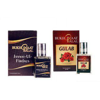 Bukhraat Halal Oriental Treat Alcohol Free Gulab Jannat Ul Firdaus Attar Combo For Prayer Daily Natural Freshenesh (set Of 2)