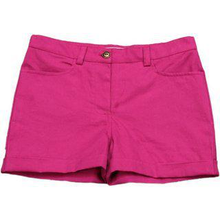 Short For Girls Solid Cotton Linen Blend 100cotton (hot Pink 2 Years)