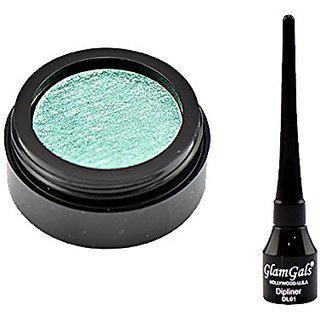 Glamgals Green Eyeshadow And Black Dipliner Eyeliner Combo Of 2