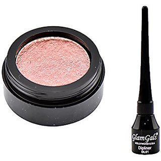 Glamgals Pink Eyeshadow And Black Dipliner Eyeliner Combo Of 2