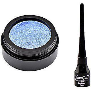 Glamgals Blue Eyeshadow And Black Dipliner Eyeliner Combo Of 2