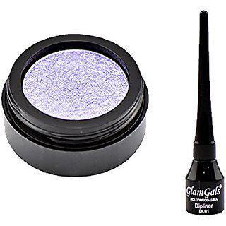 Glamgals Purple Eyeshadow And Black Dipliner Eyeliner Combo Of 2