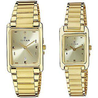 Titan Bandhan Analog Champagne Dial Couples Watch - Nc531193ym06
