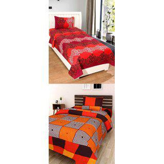 Dehati Store Poly Cotton 2 Single Bedsheets With 2 Pillow Covers