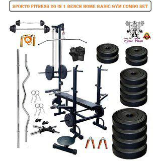 Sporto Fitness 90 Kg Combo-wb Home Gym Fitness Kit With 20 In 1 Bench