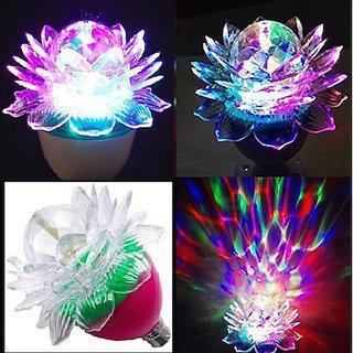 360 Degree Led Crystal Lotus Rotating Bulb For Decoration & Disco Function. B22 Holder - 1 Pc