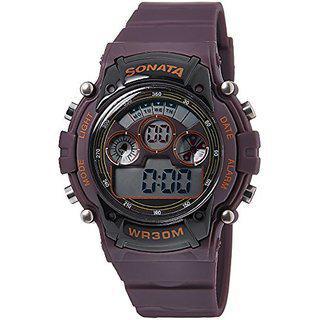 Sonata Digital Brown Dial Mens Watch - 77006pp03j