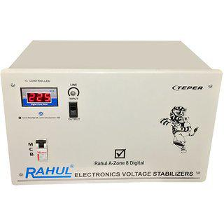 Rahul A-zone A8 Digital 8 Kva/32 Amp 140-280 Volt 3 Booster Mainline Use Up To 8 Kva Load Automatic Digital Stabilizer