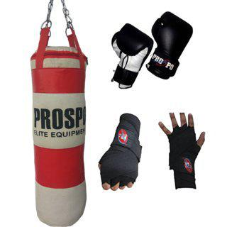 Prospo Strong And Rough 3 Feet Red White Canvas Punching Bag With Boxing Gloves And Handwrap Heavy Bag (color May Vary)