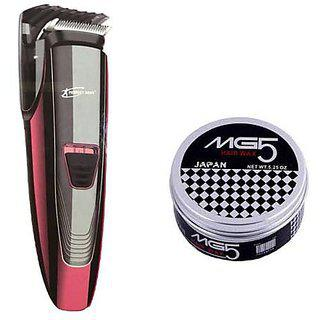 Elegancio 9085 Professional Hair Beard Rotary Shaver ( Redblack ) With 1 Hair Wax Mg 5