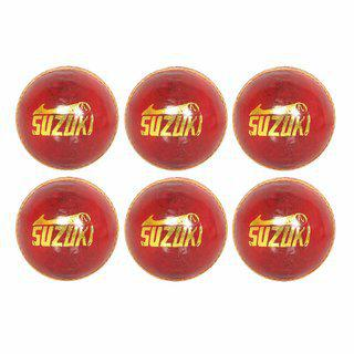Svr Cricket Leather Balls In Red For Adults - Pack Of 6 5.5 Onz Standard Leather