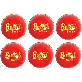 Svr Cricket Leather Balls In Red For Adults - Pack Of 6 5.5 Onz Leather