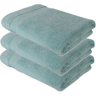 Dark Shine Premium Cotton Light Blue Bath Towel Set Of 3 Combo