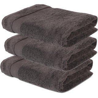 Dark Shine Premium Cotton Brown Bath Towel Set Of 3 Combo