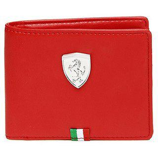 PUMA Men Casual Red Artificial Leather Wallet 3 Card Slots