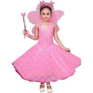 Kidling Indi Girls Maxi/Full Length Party Dress(Pink, Sleeveless)