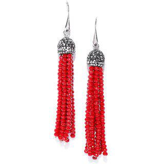 Jewels Galaxy Elegant Handcrafted Beads Silver Plated Delicate Drop Earrings For Women/girls