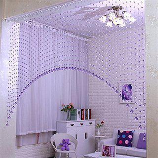 D4p 4 Feet Acrylic Crystal Plastic Strings Bead Hanging Curtain (set Of 20 String)(purple)