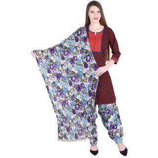 Nascency Cotton Printed V-neck 3/4 Sleeve Straight Maroon Casual And Party Wear Women Kurti With Patiala And Dupatta