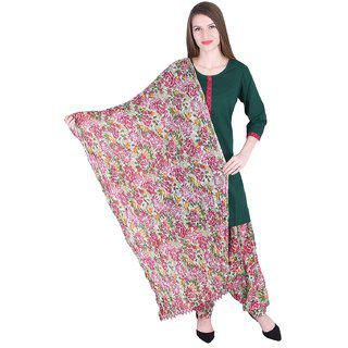 Nascency Cotton Solid Round Neck 3/4 Sleeve Straight Green Casual And Party Wear Women Kurti With Patiala And Dupatta