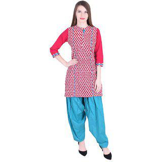 Nascency Cotton Printed Mandarin Collar 3/4 Sleeve Straight Fuchsia/ Pink Casual And Party Wear Women Kurti With Patiala
