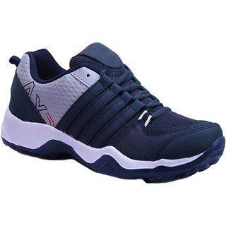 Birde Navy Blue Canvas Eva Running Shoes For Men