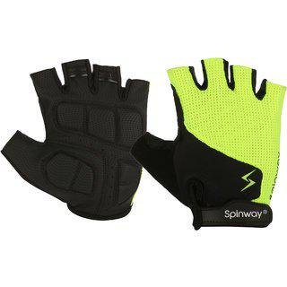 Spinway Unisex Fitness Polyster Mesh Towel Fabric With Sbr Weight Lifting Gym Gloves Padding Gel Flip Cuff Workout Fitness Exercise Size - L