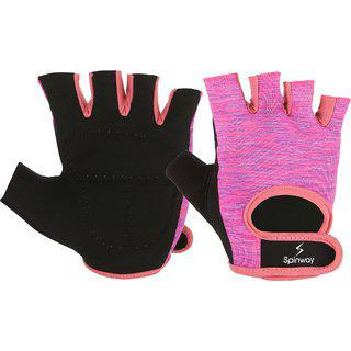 Spinway Polyster Mesh Towel Fabric With Sbr Weight Lifting Gym Gloves For Womenpadded Flip Cuff Workout Fitness Exercise Size M Color Pink A