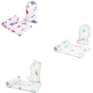 Polka Tots Organice Cotton Baby Muslin Cloth Swaddle Wrap Blanket For New Born Rendeer Elephant Bird (120 X 120 Cm Pack Of 3)