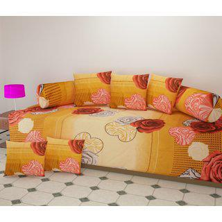 Shakrin Polycotton Diwan Set Of 8 Pieces (1 Single Bedsheet With 2 Bolsters And 5 Cushion Covers) Floral Design