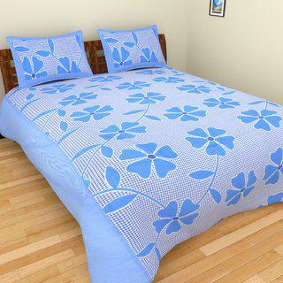 Choco Creation 3d Printed Like Cotton Blue Frooti Printed Double Bedsheet With 2 Pillow Cover
