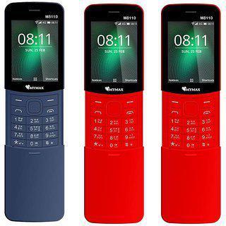 Mymax M8110 2.4 Inc Slider Phone Combo Of Three Dual Sim Open Fm Auto Call Recorder